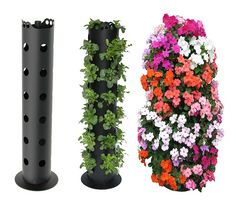 "Lowes sells the 4 to 6"" round PVC pipe with holes already drilled.  Purchase an end cap, fill with rock, soil, and plant. You can put these in the center of a very large pot to stabilize, and add amazing height and color to a container that has trailing plants (no end cap or rock needed if you are placing in a container) LOVE THIS!! MOAR FLOWERS!"