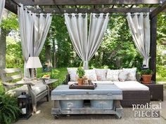 Fire Pit ~ Backyard Budget Decor Patio Design with Repurposed and Reclaimed Materials by Prodigal Pieces Budget Patio, Patio Diy, Rustic Patio, Backyard Patio Designs, Backyard Pergola, Pergola Designs, Patio Ideas, Pergola Kits, Pergola Ideas