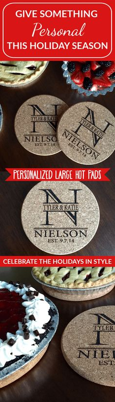 Your kitchen is the heart of your home, and nothing makes it more fun than our Personalized Large Kitchen Hot Pads. They bring baking to a fun new level when your meal is displayed on these amazing hot pads. The large 7 inch diameter protects your tabletop from hot items. Made from high quality cork, these will last a very long time. This deal includes two identical personalized hot pads. Simply let us know the last name you would like on your hot pads, and we'll do the rest!