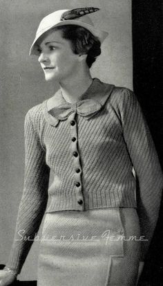 1930s Diagonal Stitched Cardigan with Bow - Vintage Knitting Pattern PDF (322)