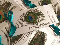 Art Nouveau   Gatsby   Peacock Feather   Chequebook Wedding Invitations in Teal & Silver