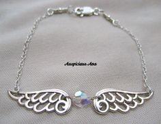 Angel wing and swarovski crystal bracelet