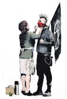 Banksy Anarchist & Mum Iron On T Shirt Transfer Or Sticker Protester Grafitti