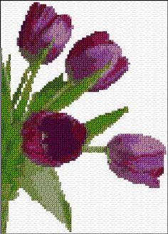 Cross Stitch | Purple Tulips xstitch Chart | Design