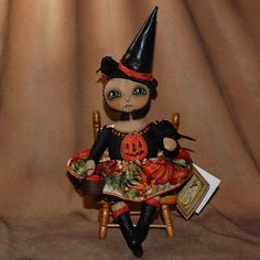 Outside the Box Primitives: TISHA TORMENTAL~primitive folk art witch doll halloween crows, pumpkinsSOLD!