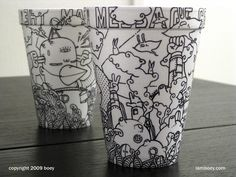 Black Marker Coffee Cup Art by Cheeming Boey