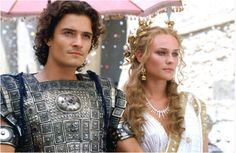 Orlando Bloom and Diane Kuger in Troy (2004); Costumes designed by Bob Ringwood, followed the trend of men mostly dressed in blue and women in pure white.