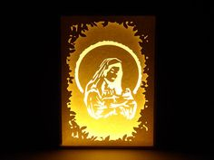Paper Cut Silhouette Light Box  Virgin Mary
