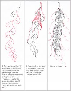 Scrolled Feather Tangle Pattern