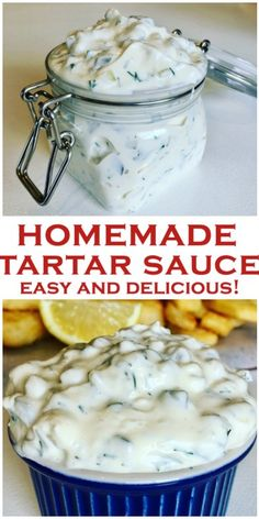 Quick and easy homemade Tartar Sauce, tastier than store bought! Made with dill pickles, mayo, fresh dill and minced onion. Perfect for fish fingers or fish and chips, a dip you won't be able to stop eating! Taco Salad Recipes, Sauce Recipes, Fish Recipes, Seafood Recipes, Cooking Recipes, Healthy Recipes, Copycat Recipes, Homemade Tartar Sauce Easy, Barbecue