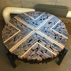 Table made from old wood and offcuts by Matthew Regonini