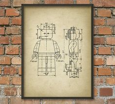 Lego Patent Wall Art Poster 4  Aged Paper Style by QuantumPrints