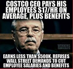 Hillary's pals on Wall St. don't want Costco workers having benefits or earning a decent wage.she felt the same about Walmart workers making slave wages when she served on the Board of Directors of Walmart.Wake the hell up and support Bernie Sanders ! Bernie Sanders, Faith In Humanity Restored, Thats The Way, Social Issues, Social Work, Social Justice, Good People, People People, Thought Provoking
