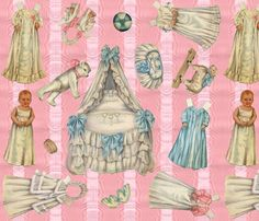 Edwardian Paper Doll Nursery ~ Pink fabric by peacoquettedesigns on Spoonflower - custom fabric Diy Toys And Games, Nursery Wallpaper, Fabric Wallpaper, Arts And Crafts, Paper Crafts, Dress Up Dolls, Spoonflower Fabric, Baby Crafts, Pink Fabric
