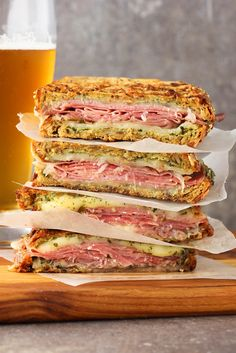This Italian-Style Panini is one for the record books. Grilled bread stuffed with Italian cured meats, mozzarella and fresh pesto. It's lunch at its finest.