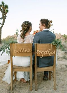 Better Together Chair signs - Laser cut chairback - Chair signs - Engagement party decor - wedding decor - wedding signs - rustic decor Wedding Chairs, Wedding Seating, Wedding Ceremony, Wedding Chair Signs, Wedding Table, Perfect Wedding, Dream Wedding, Wedding Summer, Blue Wedding