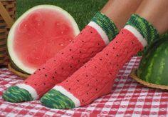 Ravelry: Pasteque - Watermeloen - Watermelon Slice Socks pattern by Wendy Gaal Funky Socks, Crazy Socks, Cute Socks, My Socks, Awesome Socks, Knitting Projects, Knitting Patterns, Crochet Patterns, Knitting Socks