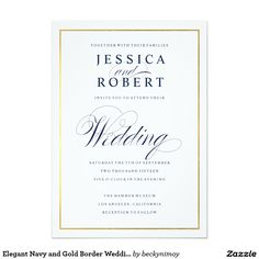 Elegant Navy and Gold Border Wedding Invitation