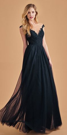 f5032bd665f  91.99  Shimmering tulle   Lace Bateau Neckline Full-Length A-line  Bridesmaid Dress