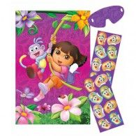 In our Dora the Explorer Party Game, the object is to 'pin' the Map on Dora's Backpack. Start by hanging the game board poster of Dora and Boots swinging from a vine in a jungle full of flowers. Wholesale Party Supplies, Kids Party Supplies, Birthday Balloons, 1st Birthday Parties, Birthday Ideas, 4th Birthday, Wholesale Balloons, Disney Balloons, Dora The Explorer