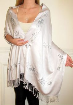 Get this evening shawl made in any color of your choice at no extra cost. Choose a white ivory silver black brown red purple pashmina shawl and get the designing done in silver or gold.