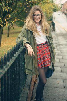 autumnal tartan skirt and parka