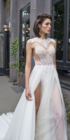 High leg slit wedding dresses #weddingdress