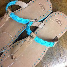 Ugg turquoise braid flip flop