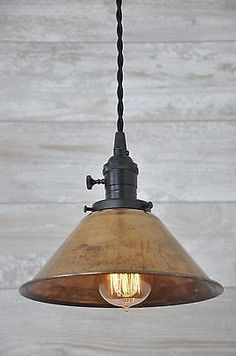 Unfinished Copper Spun Cone Industrial Pendant Light Fixture Rustic Vintage