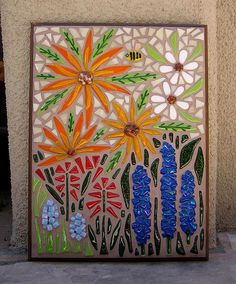 Garden flower mosaic made with fused glass. All the flowers, leaves and bee were fused in my kiln, background is stained glass. Mosaic Garden Art, Mosaic Flower Pots, Mosaic Art, Mosaic Glass, Mosaic Tiles, Fused Glass, Pebble Mosaic, Mosaic Crafts, Mosaic Projects