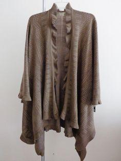 Kende cape lagenlook poncho aboriginal top art to wear artsy artist taupe sz OS #Kende #Cape