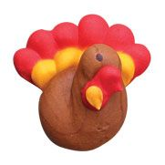 """Turkeys - Item #470130. Also availble in 3/4"""" - Item #470075. Edible Royal Icing Decorations. Certified Kosher. Gluten Free. Nut Free. Dairy Free. 0 gram Trans Fats."""
