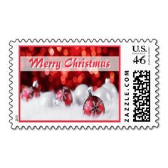 """Seasonal Decorations Postage. Unique, trendy, chic and stylish Christmas holiday greetings mail stamps. With cute and fun image of traditional red and silver gold colored bauble ornaments covered with snow, """"Merry Christmas"""" text. Original, elegant and classy stamps to personalize your December winter season wishes with."""