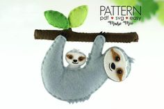 Sloth Sewing Pattern - Felt Sloth Ornament Pattern, at Makerist - Image 1 Sewing Stuffed Animals, Cute Stuffed Animals, Stuffed Animal Patterns, Felt Patterns, Baby Patterns, Sewing Patterns, Sewing Projects For Beginners, Sewing Tutorials, Sewing Crafts
