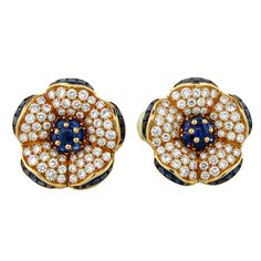 VAN CLEEF AND ARPELS Diamond and Sapphire Ear Clips
