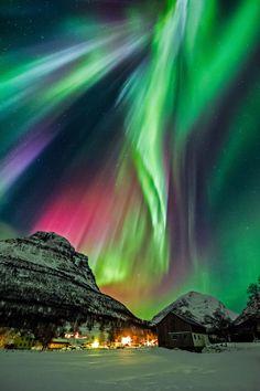 Northern Lights: Aurora Borelis, Norway; by Wayne Pinkston