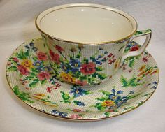 Vintage Royal Winton CHINTZ Tea Cup & Saucer Queen Anne Pattern from wildgoosechase on Ruby Lane
