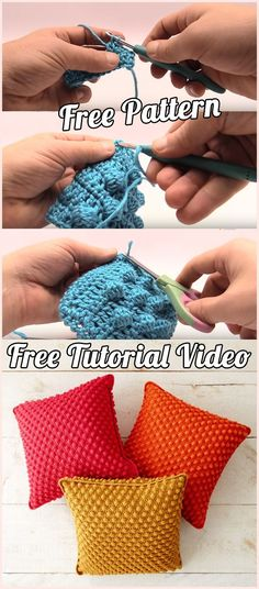 Crochet Cushion and Pillow: free pattern and tutorial instructions | | Free Pattern, Tutorial, Step By Step, DIY, Crafts