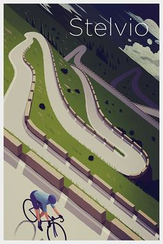 ''Stelvio' Print' Poster by superchezbro Bicycle Art, Bicycle Design, Cycling Art, Road Cycling, Cycling Quotes, Bike Illustration, Bike Poster, Bicycle Maintenance, Vintage Travel Posters