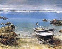 Andre Deymonaz Barque à l'échouage (92x73 / Huile sur toile)