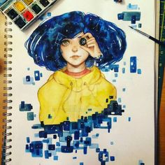 New Drawing Eyes Disney Tim Burton Ideas Fanart, Coraline Drawing, Art Sketches, Art Drawings, Coraline Aesthetic, Tim Burton Characters, Coraline Jones, Small Canvas Paintings, Tumblr Love