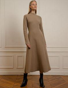 New Revival Brown Wool Long Knit Dress , Modest Outfits, Modest Fashion, Fall Outfits, Wool Dress, Knit Dress, Day Dresses, Casual Dresses, Knit Fashion, Street Style Women