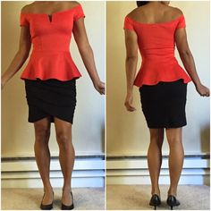 Super cute off shoulder peplum blouse. Elegant off shoulder blouse with sleek peplum and curve.  Wore once with skinny jeans and heels.  Color is red/orange. Wet Seal Tops Blouses