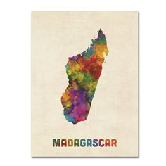 """Trademark Art 'Madagascar Watercolor Map' Graphic Art Print on Canvas Size: 19"""" H x 14"""" W x 2"""" D"""