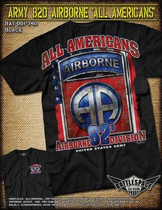 Army 82nd Airborne T-Shirt- 7.62 Design Military Men's Short Sleeve Tee Shirt
