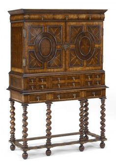 OYSTER CABINET ON HAND CARVED LEGS- Jonathan Charles