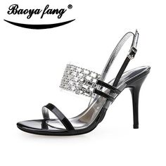 (31.45$)  Watch now - http://ai5kj.worlditems.win/all/product.php?id=32680036038 - Lady Shoes Summer New Fashion Young Girl Sexy Open-toed Sandals Rhinestone Stiletto Pumps Black Yellow Size 34-41 Rome Shoes