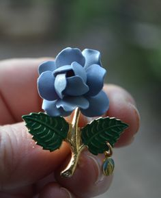 SOMETHING BLUE Vintage Light Blue Rose Brooch Pin with Green Leaves and Gold Stem Plastic and Metal by StudioVintage on Etsy