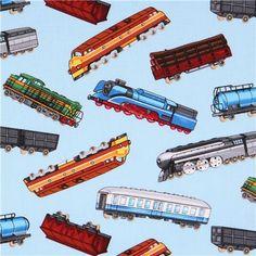 TRAINS MODEL TRAIN LOCOMOTIVE RX BLUE COTTON FABRIC FQ