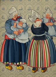 Folk Costume & Embroidery: Costume of Volendam, North Holland, The Netherlands Art Costume, Folk Costume, Norwegian Style, North Europe, Cross Stitch Pictures, Vintage Postcards, Vintage Cards, Old Pictures, Illustrations